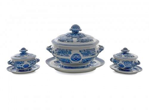 Inventory: Chinese Export Porcelain Chinese Export Blue Fitzhugh Soup Tureen and Two Saucer Tureens & Covers, 1790-1800