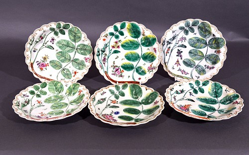 Inventory: First Period Worcester Porcelain First Period Worcester Set of Six Blind Earl Porcelain Dishes, 1770 SOLD •