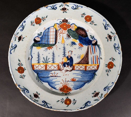 Inventory: British Delftware London Delftware Chinoiserie Large Dish, Circa 1760-80 $1,250