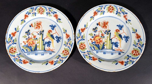 Inventory: British Delftware Lambeth Delftware Polychrome Chinoiserie Plates decorated with Parrots, Circa 1760 $950