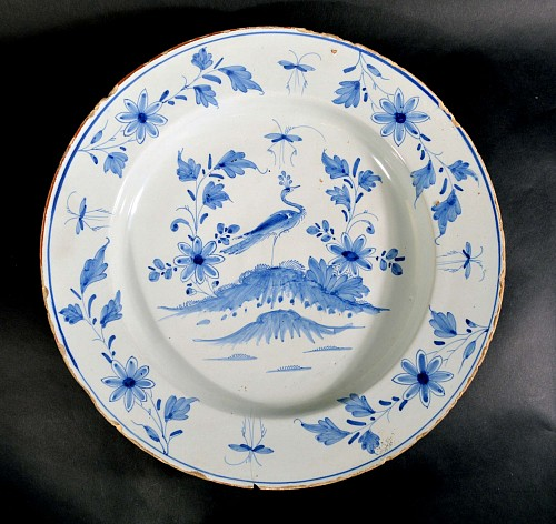 Inventory: British Delftware English Underglaze Blue Delftware Large Dish with Heron, London or Liverpool, Circa 1740-50. $1,500