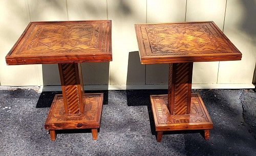 Inventory: Folk Art Pair of American Folk Art Parquetry Side-tables, 1950-60s $3,000