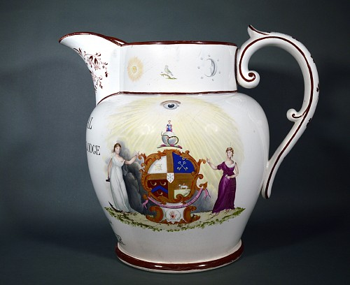 Inventory: Pearlware Davenport Pearlware Pottery Massive Presentation Jug, Arms of The Oddfellows and inscribed The Loyal Samaritans Pride Lodge, Salford...... Host Walker, 1870-86 $12,500